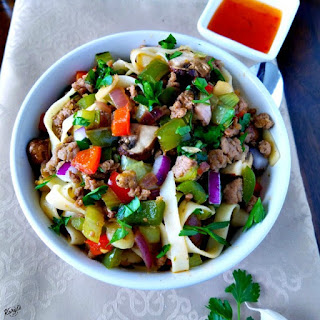 Fettucini with Ground Turkey and Vegetables.