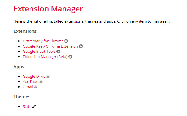 Extension Manager (Beta)