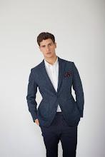 Photo: Blue wool blazer with burgundy spot pocket square  http://www.oipolloi.com/fourth-and-main-yorkshire-tweed-blazer-navy