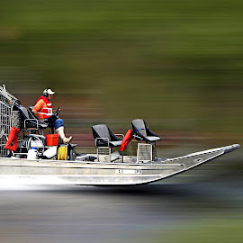On The Move by Jessica Rowley - Transportation Boats ( everglades, motion, florida, airboat, blur, movement, speed,  )