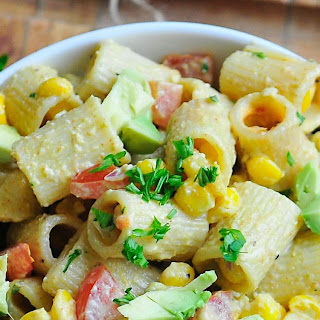 Pasta Salad with Corn, Tomatoes, and Avocados.