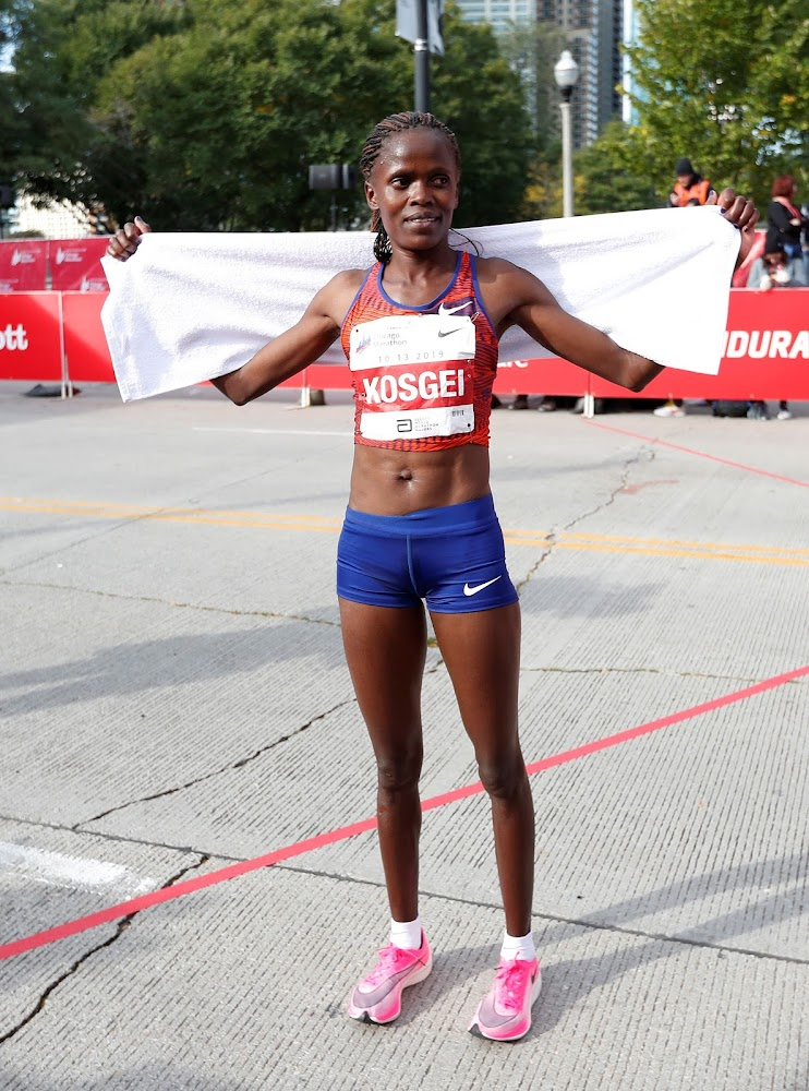 Kosgei misses record as she trails trails Ethiopia's Yeshaneh