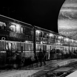 Destination Jupiter by Chris Seaton - Digital Art People ( digital manipulation, planet, night, black and white, motion blur, train )