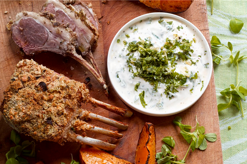 9.Herb-crusted rack of lamb with pumpkin wedges