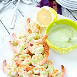 Shrimp Skewers with Arugula Pesto Aioli.