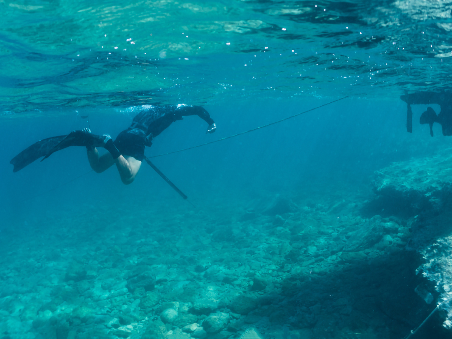 A diver with a spear gun hunting the shallow rock beds in the Florida Keys