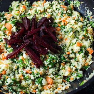 Cauliflower-Carrot 'Rice', Spinach and Beets.