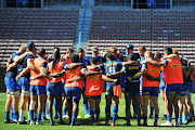 Stormers team huddle during the DHL Stormers captains run at DHL Newlands Stadium on April 26, 2019 in Cape Town, South Africa.