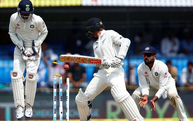 New Zealand's Kane Williamson is bowled by India's Ravichandran Ashwin (not in picture).