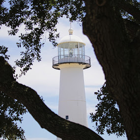 The Biloxi Lighthouse by Mike Zegelien - Buildings & Architecture Public & Historical ( landmarks, lighhouse, biloxi ms, ocean, gulf of mexico, historical )