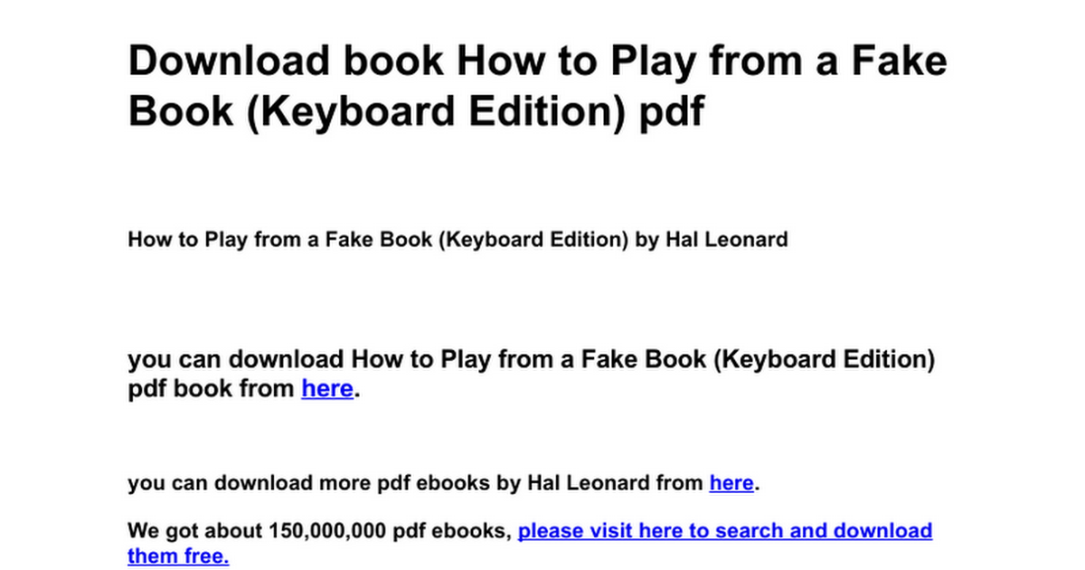 how to play from a fake book keyboard edition google docs