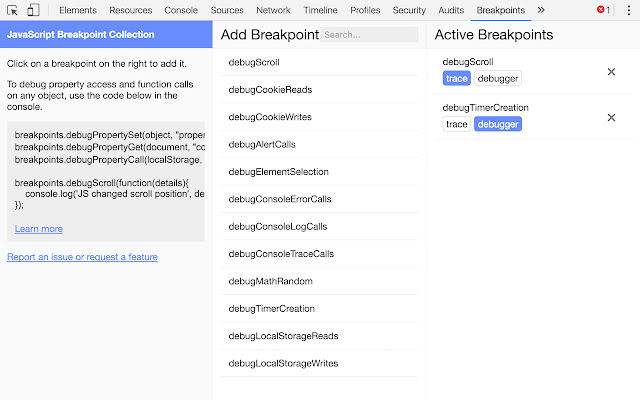 JavaScript Breakpoint Collection