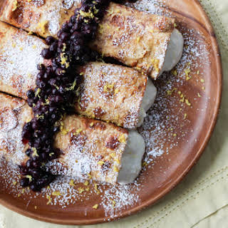 Healthy Cheesecake Stuffed French Toast Crepes with Vanilla Berry Compote.