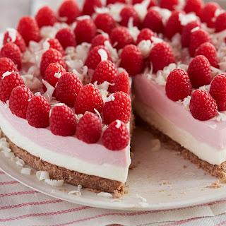No Bake Gluten-Free White Chocolate Raspberry Cheesecake.