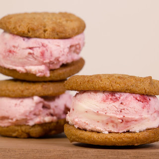 Peanut Butter and Strawberry Ice Cream Sandwiches