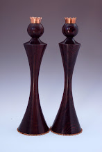 "Photo: David Fry - Candle Sticks - 12"" x 3"" - Bocote and copper with an oil finish"