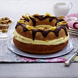 Vanilla Almond Cake with Mango Mascarpone Cream and Chocolate