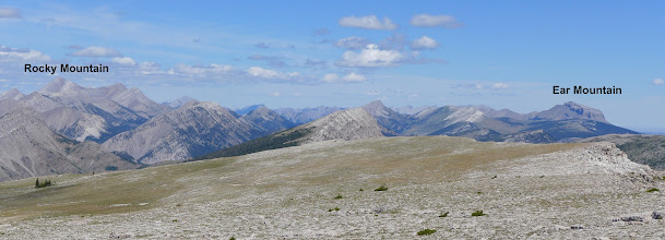 Photo: Looking north from true summit - Rocky Mountain is the highest mountain in this range (The Sawtooths). Ear Mountain was featured on one of my earlier posts.