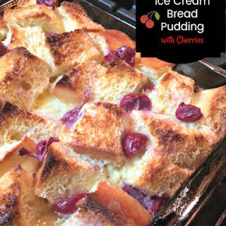 Vanilla Ice Cream Bread Pudding with Cherries.