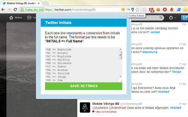 Twitter Initials