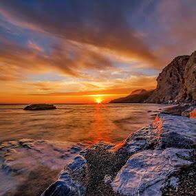 DANGEROUS...Sunset by George Papapostolou - Landscapes Sunsets & Sunrises ( therma, sunset, colors, greece, kos island, landscape, nikon, nikon d7000,  )
