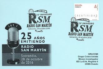 Photo: Tarjeta del matasellos del 25 aniversario de Radio San Martín, en Sotrondio