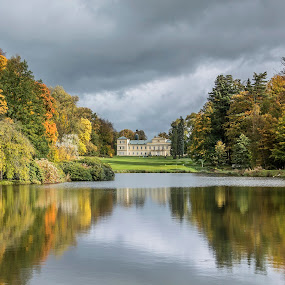 Old mansion by Martin Namesny - Buildings & Architecture Other Exteriors ( clouds, mirror, reflection, old, surface, mansion, autumn, lock, cloud, lake, colored )