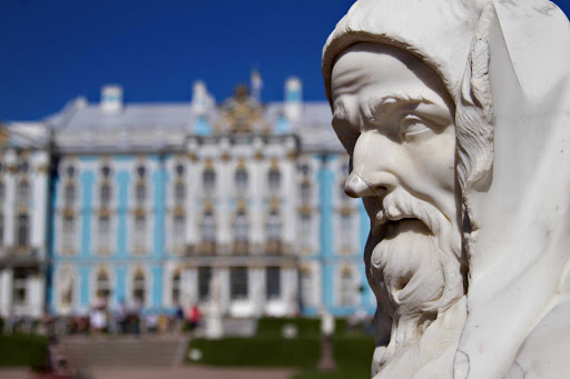 A statue outside of Catherine Palace in Pushkin, Russia.