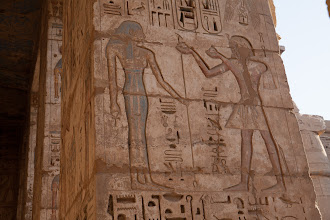 Photo: Medinat Habu, second court, Ramses III offering to Isis?