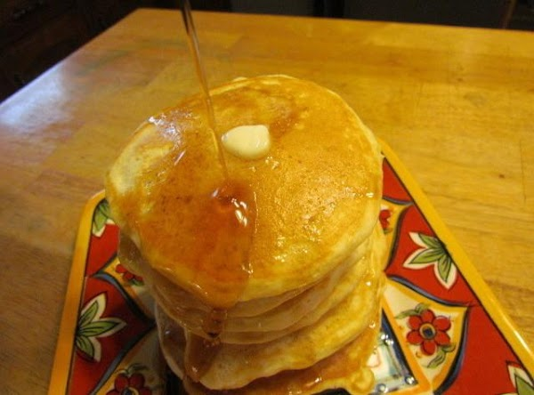 Always practice with one tiny pancake before you load up your griddle.  Time to chow...