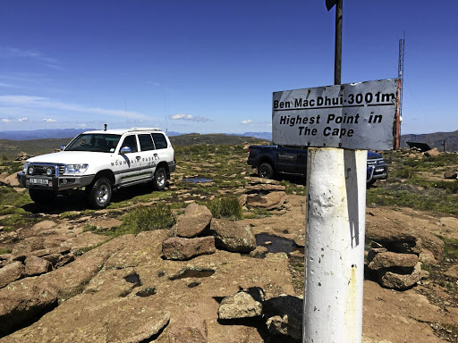 On top of it: The Ben MacDhui Pass at Tiffindell Ski Resort in the Eastern Cape is SA's highest at 3,001m. A jeep track leads from the highest ski-lift pylon to the summit point. Picture: TRYGVE ROBERTS