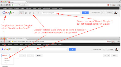 Photo: Some inconsistencies/issues in Google's design of it's services Google+ and Gmail.