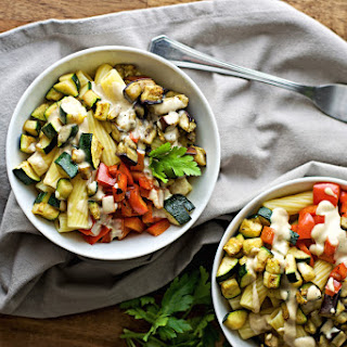 Pasta With Vegetables And Roasted Garlic Tahini Sauce.