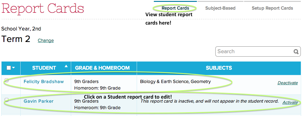 how to setup report cards complete cycle quickschools support