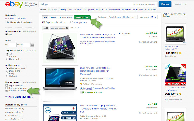 ebay average price calculator (only for Euro)