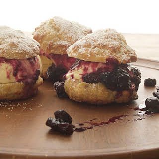 Lemon Ice Cream Shortcakes with Blueberry Compote.