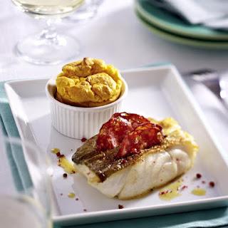 Chorizo Cod with Pumpkin Soufflé.