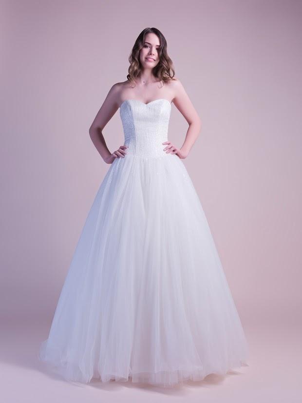 Robe de mariée Divine, au bustier brodé de cristaux et de sequins, robe de mariée princesse