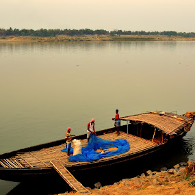 boat on river by Sandip Ghose - People Street & Candids ( life, job, boat men, boat, man, river )