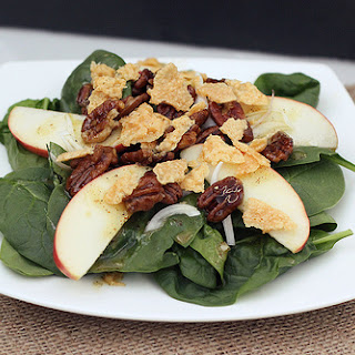 Baby Spinach Salad with Maple Roasted Pecans & Parmesan Cheese Crisps