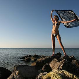 Ashley on the Rocks by Drew Tarter - People Fashion ( bikini, swimwear, island, sunset, scenic, fashion )