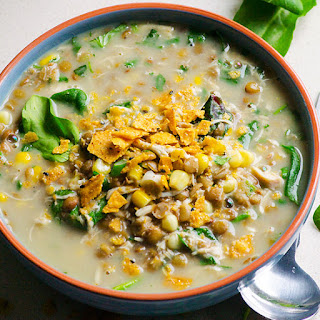 Slow Cooker Lentil, Chicken and Corn Soup.