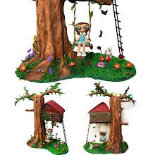 Photo: Casa árbol primaveral. realizada en papel maché y pasta de papel, pintada  a mano.