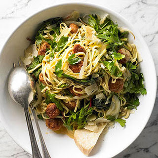 Linguine with Sausage, Greens and Egg Pan Sauce