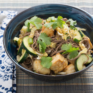 Cold Soba Noodle Salad with Cucumber & Crispy Tofu.