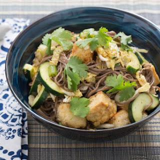 Cold Soba Noodle Salad with Cucumber & Crispy Tofu.