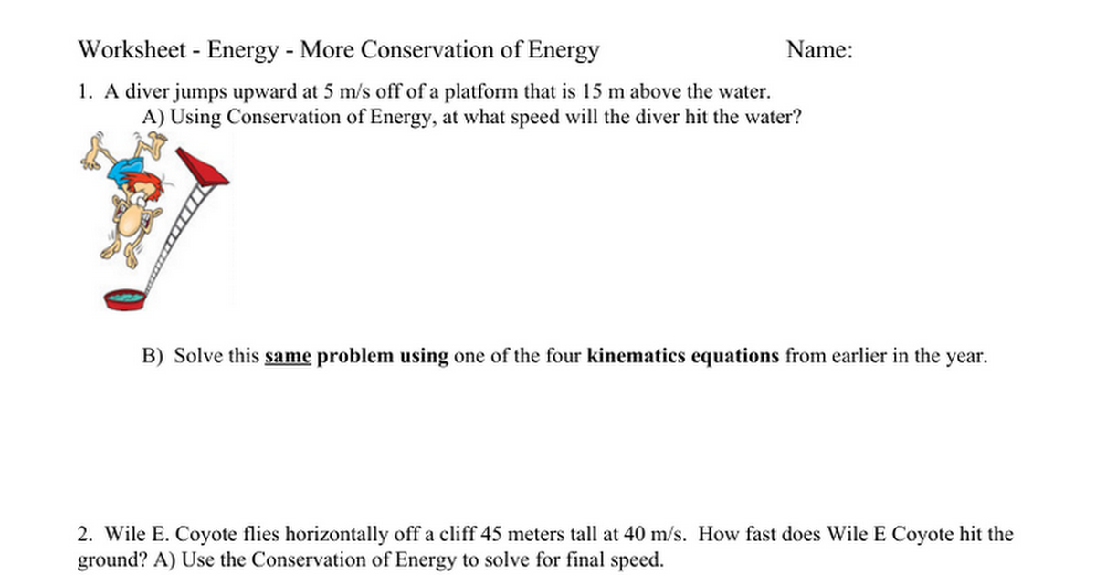 Worksheet Energy More Conservation of Energy Google Docs – Conservation of Energy Worksheet