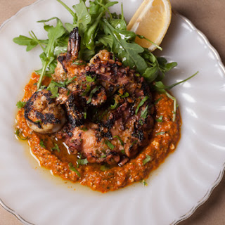 Grilled Octopus and White Gulf Shrimp with a Red-Pepper Sauce Recipe