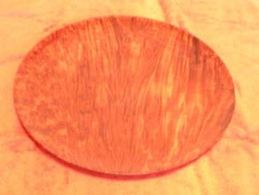 "Photo: Redwood Burl Platter 14 1/2"" x 1""  $295"
