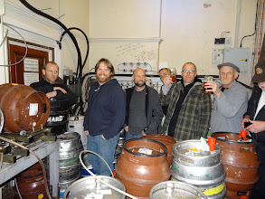 Photo: Here's our group tour of the cellar of the inspiring Sheffield Station Pub.